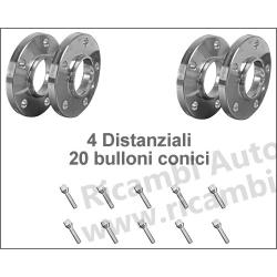 Kit 4 Distanziali Ruote + 20 Bulloni Conici - Fiat Lancia Alfa Romeo da 16mm